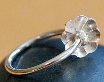 Sterling Silver Flower Cartilage Earring / Tragus / Helix Hoop - La Petite Fleur -