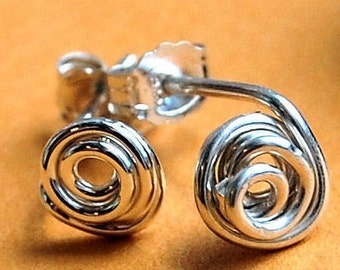 """Silver Stud Earrings / Sterling Silver Studs / Silver Studs / Rosebud / """"All Tangled Up"""""""