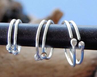 Graduated Multiple Piercing Hoop Set of 6 * Sterling Silver Multiple Piercings * Silver Cartilage Hoops / Tragus Hoops / Helix Hoops