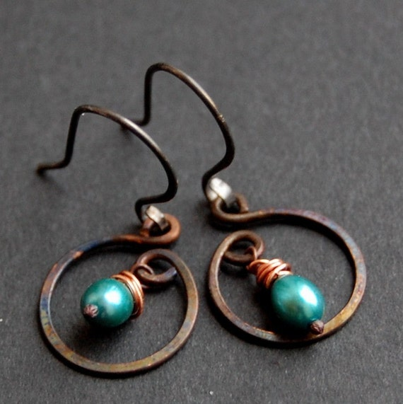 Blueberry Hill - from the URBAN Elegance Collection - Copper, Pearls and Sterling Earrings