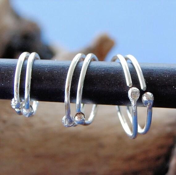 Sterling Silver Hoops / Graduated Hoop Set / Multiple Piercings / Silver Cartilage Hoops / Tragus Hoops / Helix Hoops