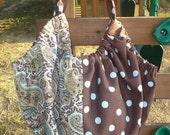 Hobo Bag from polka dot and paisley decorator fabric
