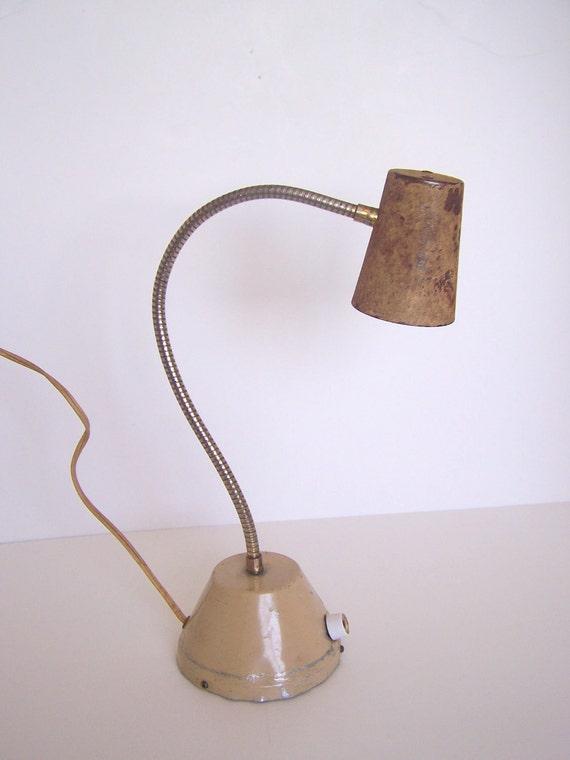 RESERVED FOR FORRESTINAVINTAGE Urban Industrial Rusty Gooseneck Lamp Works Great