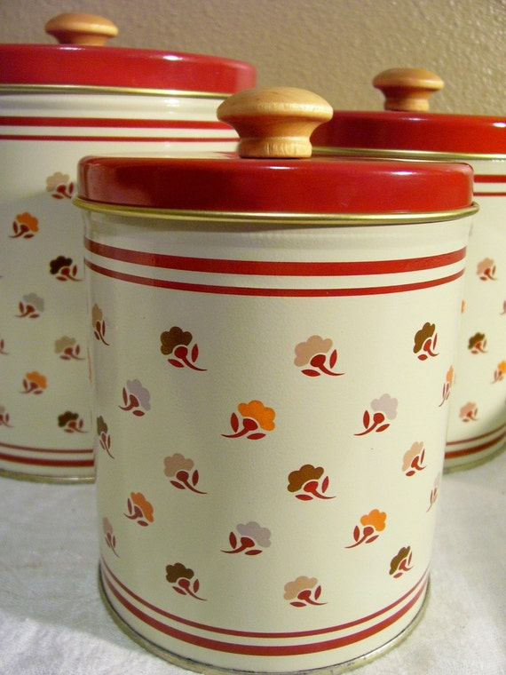 Small Wooden Kitchen Canisters Tan