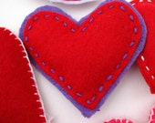 Small Hand Cut and Sewn Purple and Red Felt Heart