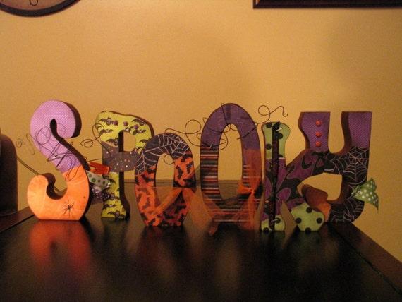 Spooky letters wood Halloween