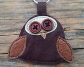 Handmade brown recycled leather cute owl keychain keyring. FREE SHIPPING