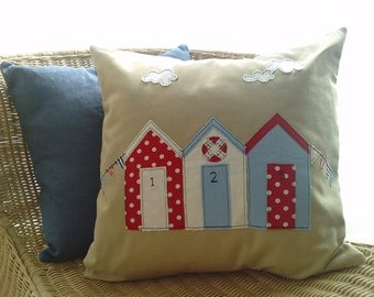 Beach Hut and bunting cushion cover in natural linen. Free UK shipping.