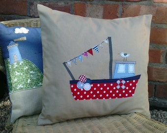 Handmade Fishing Boat and seagull cushion cover in natural linen. Free UK shipping.