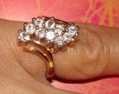 glamorous vintage faux diamond cocktail ring