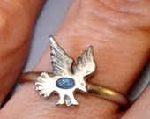 vintage silver and turquoise thunder bird ring