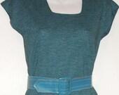 SALE vintage blue striped cotton-knit dress