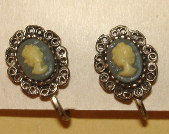 SALE vintage dusty blue and cream cameo silver filigree earrings
