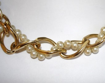 vintage MAXANN gold link and pearl necklace