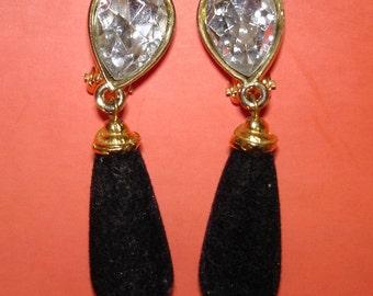 vintage black velvet and faux diamond on earrings