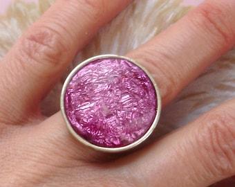vintage lilac foil effect gem cocktail ring