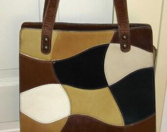 vintage groovy MAHLER color block leather handbag