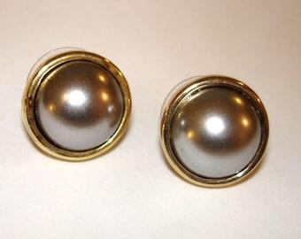 SALE vintage silver-gray pearl gold pierced earrings