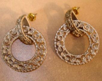 mod vintage silver scroll pierced door knocker hoop earrings
