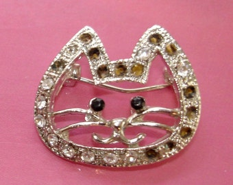 jeweled vintage cute kitty cat brooch