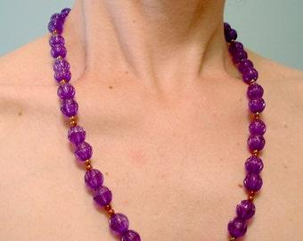 SALE vintage grape soda purple plastic beaded necklace