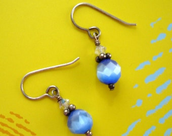 SALE vintage iridescent blue faceted glass and crystal pierced earrings