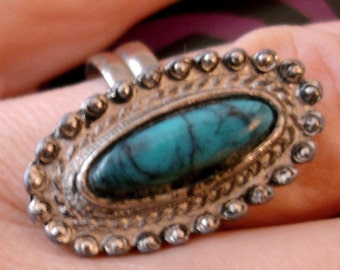 vintage faux turquoise silver cocktail ring