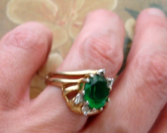 vintage ESPO faux diamonds and emerald May birth stone ring