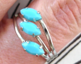 vintage silver 3 turquoise gems floral cocktail ring