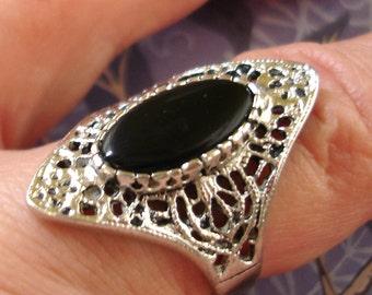 vintage Espo black onyx silver filigree ring