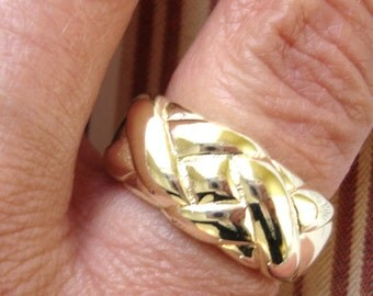 vintage wide  woven silver ring