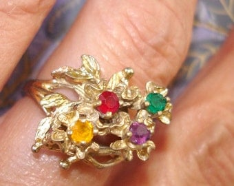 vintage golden floral spray ring with colorful gemstones