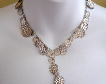 vintage hammered silver polka dot medallions drop necklace
