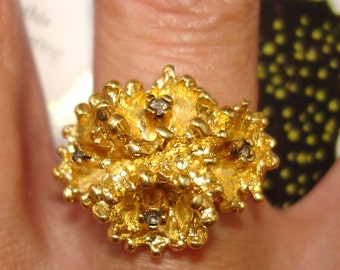 vintage ESPO sparkling gems biomorphic gold sea flower cocktail ring