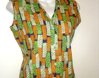 vintage cool cotton domino polka dots print sleeveless summer blouse