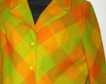 SALE vintage mod bright and bold plaid jacket