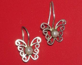 tiny silver butterfly earrings