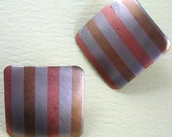 vintage three tone metal earrings