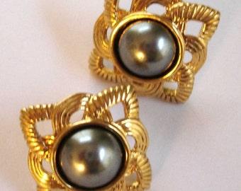 vintage elegant gold and silver pearl pierced earrings