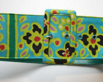 vintage colorful spring floral belt