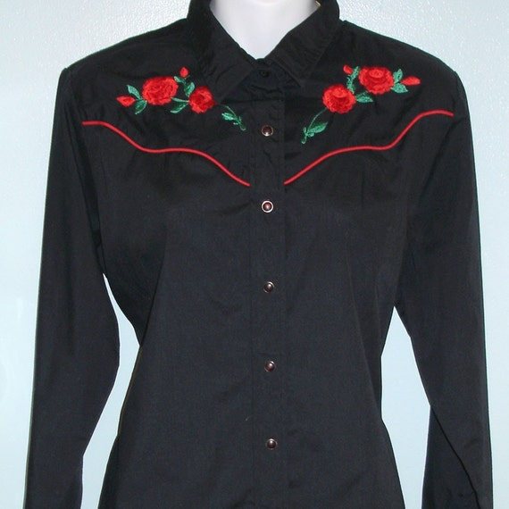 vintage ELY Champion Collection western shirt with embroidered roses