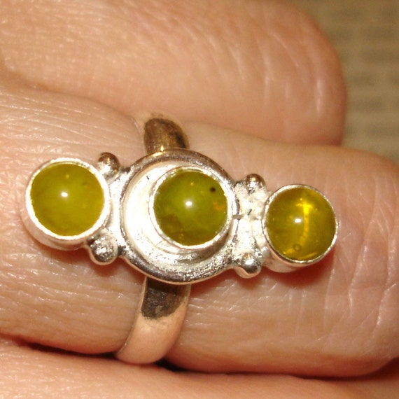 vintage mod sterling silver ring with bright yellow amber stones
