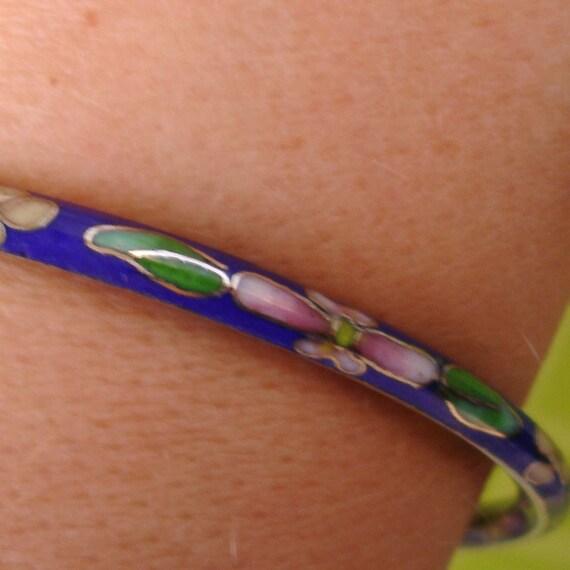 vintage colorful blue cloisonne bangle bracelet