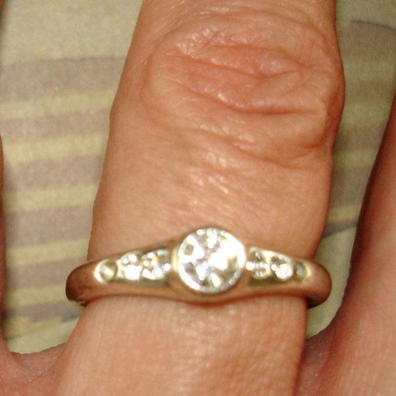 vintage faux diamond simple silver art deco style ring