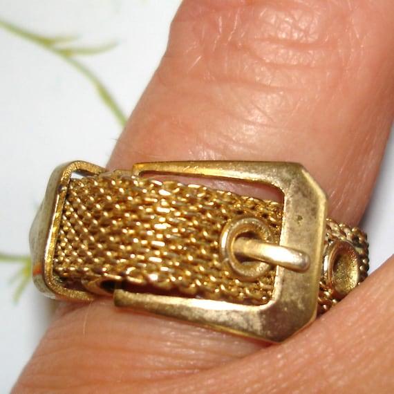 vintage gold mesh belt with buckle ring