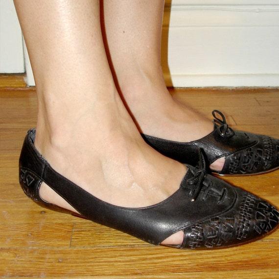 vintage woven black leather mini wedge skimmer flat brogues 8 - 8.5