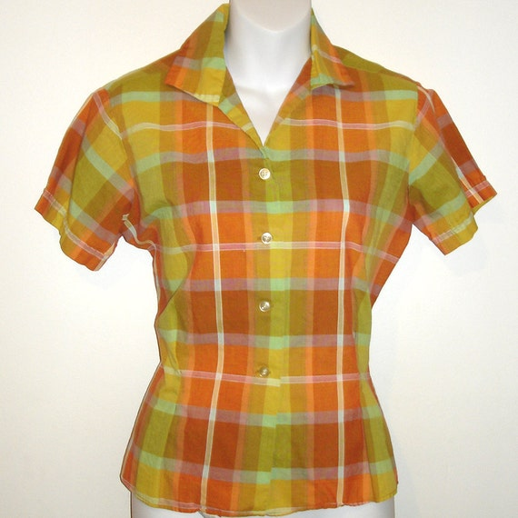 vintage Jeanies by Blue Bell sherbert colors tailored plaid blouse