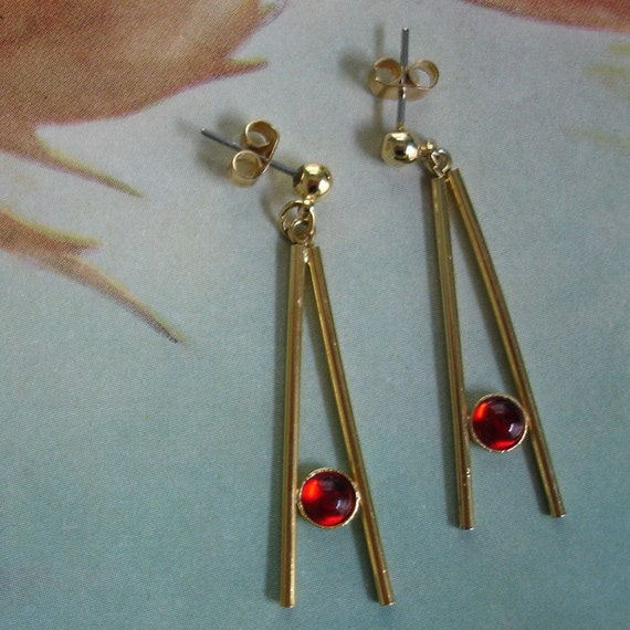 vintage gold Egyptian inspired letter A earrings with red cabochons