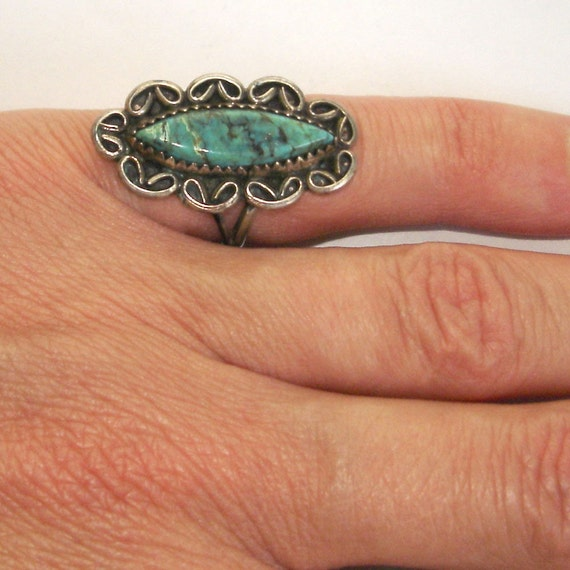 RESERVED FOR Ivy vintage gorgeous silver and greenstone ring