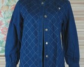 Vintage 80s Quilted Denim Jacket Size Small Medium b42